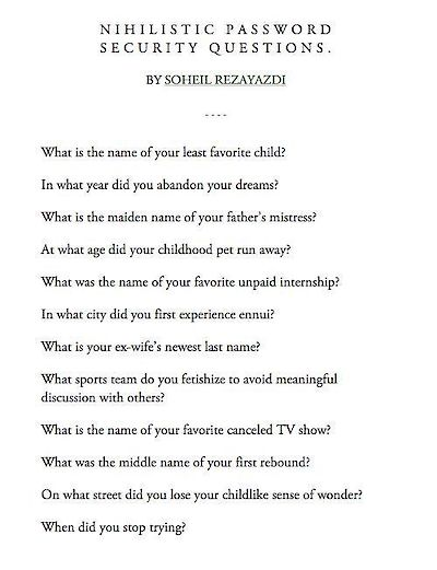 Lists of Note: Nihilistic Password Security Questions