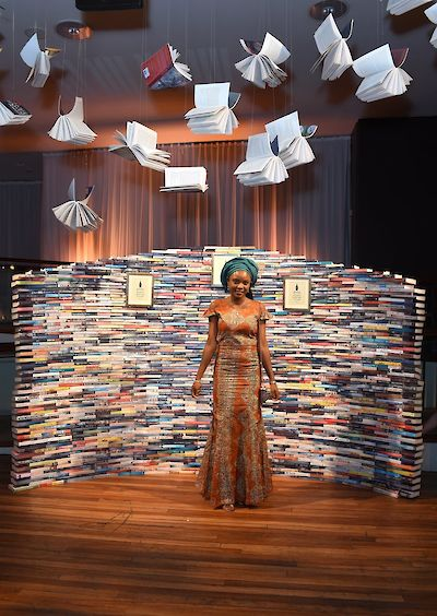 Stay With Me Baileys tweet - Ayobami with book wall